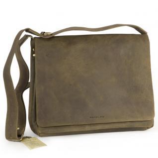 Harolds - Umhängetasche Größe M / Messenger Bag aus Leder, Khaki-Grün, Modell 310403