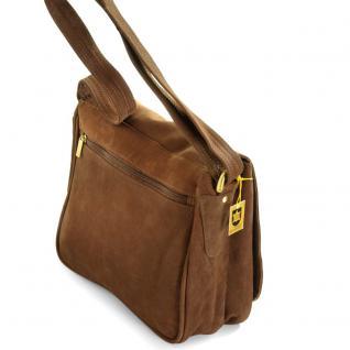 Hamosons - Damen-Handtasche Größe M / Umhängetasche im Retro-Look aus Büffel-Leder, Braun, Modell 577 - Vorschau 2