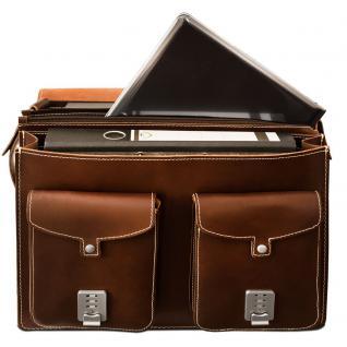 Hamosons - Große Aktentasche / Lehrertasche Größe XL aus Leder, Braun, Modell 690 - Vorschau 4