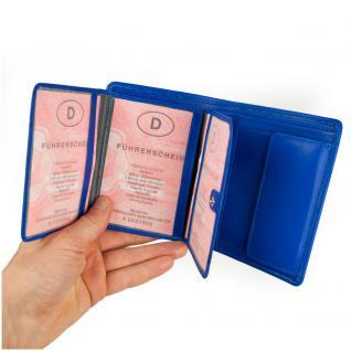 Branco - Große Geldbörse / Portemonnaie Größe L für Herren aus Leder, Hochformat, Azur-Blau, Modell 12005 - Vorschau 3