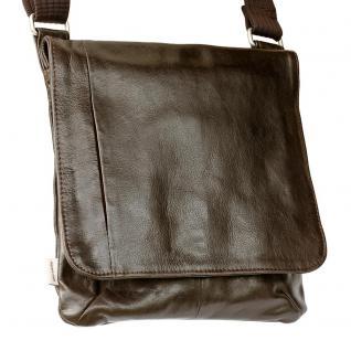 Jahn-Tasche - Umhängetasche Größe M / Handtasche aus Nappa-Leder mit gepolstertem Tablet-Fach, Braun, Modell 428