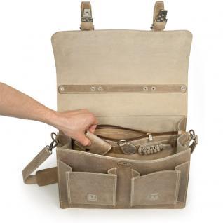 Hamosons - Klassische Aktentasche / Lehrertasche Größe L aus Büffel-Leder, Creme-Beige, Modell 600 - Vorschau 3