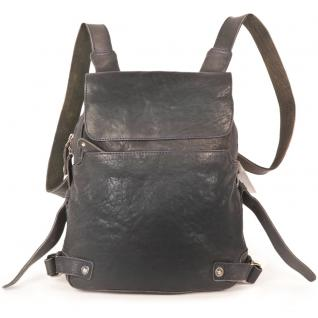 Harolds - Kleiner Lederrucksack Größe S / Rucksack-Handtasche aus Leder, Blau-Schwarz, Modell 223702