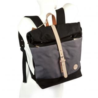Enter - Großer Canvas Rucksack Größe L / Rolltop Backpack im coolen Retro-Style, Schwarz mit Grau, Modell 1407