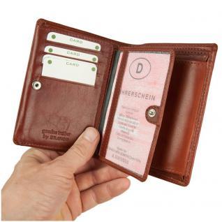 Branco - Große Geldbörse / Portemonnaie Größe L für Herren aus Leder, Hochformat, Braun, Modell 12005 - Vorschau 2