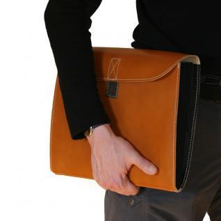 Jahn-Tasche - A4 Dokumentenmappe / Dokumententasche, aus Leder, Cognac-Braun, Modell 1040
