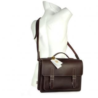 Hamosons - Mittel-Große Aktentasche / Lehrertasche Größe M aus Leder, Braun, Modell 605 - Vorschau 5