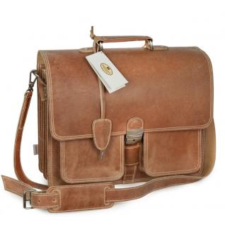 Hamosons - Klassische Aktentasche / Lehrertasche Größe L aus Leder, Natur-Braun two-tone, Modell 651