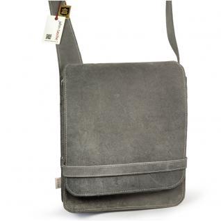 Jahn-Tasche - Herren-Handtasche Größe M / Umhängetasche aus Büffel-Leder, A4 Hochformat, Grau, Modell 685