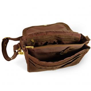 Hamosons - Damen-Handtasche Größe M / Umhängetasche im Retro-Look aus Büffel-Leder, Braun, Modell 577 - Vorschau 3
