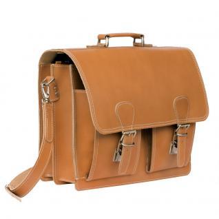 Hamosons - Klassische Aktentasche / Lehrertasche Größe L aus Leder, Cognac-Braun, Modell 600 - Vorschau 4