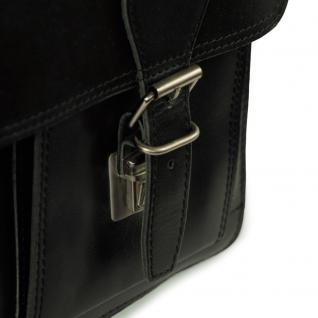Hamosons - Klassische Aktentasche / Lehrertasche Größe L aus Leder, Schwarz, Modell 600 - Vorschau 4