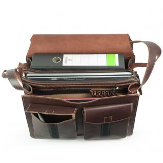 Jahn-Tasche - Große Aktentasche / Lehrertasche Größe XL aus Leder, Braun, Modell 675