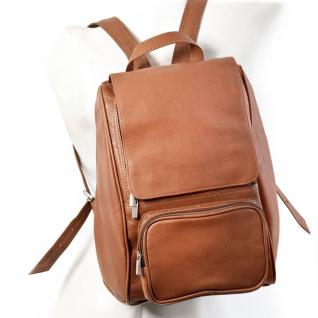 Jahn-Tasche - Mittel-Großer Lederrucksack Größe M / Laptop-Rucksack bis 14 Zoll, Cognac-Braun, Modell 710