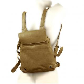 Harolds - Kleiner Lederrucksack Größe S / Rucksack-Handtasche aus Leder, Khaki-Grün, Modell 223702