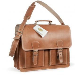 Hamosons - Klassische Aktentasche / Lehrertasche Größe L aus Leder, Natur-Braun two-tone, Modell 600
