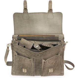 Hamosons - Klassische Aktentasche / Lehrertasche Größe L aus Büffel-Leder, Dunkel-Grau, Modell 600 - Vorschau 2