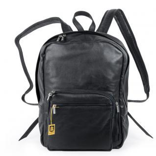 Hamosons - Großer Lederrucksack Größe L / Laptop-Rucksack bis 15, 6 Zoll, Nappa-Leder, Schwarz, Modell 514