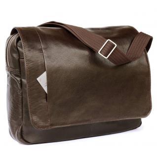 Jahn-Tasche - Elegante Laptoptasche Größe M / Notebooktasche bis 14 Zoll, aus Nappa-Leder, Braun, Modell 438