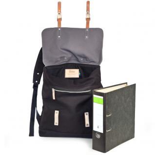 Enter - Großer stylischer Canvas Rucksack / Vintage Rucksack Größe L, Schwarz mit Grau, helles Leder, Modell 1304 - Vorschau 2