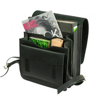 Jahn-Tasche - Mittel-Großer Lederrucksack / Lehrer-Rucksack Größe M aus Leder, Schwarz, Modell 668 - Vorschau 3