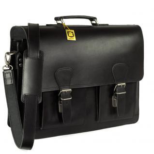 Hamosons - Klassische Aktentasche / Lehrertasche Größe L aus Leder, Schwarz, Modell 600 - Vorschau 2