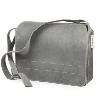 Jahn-Tasche - Sehr Große Aktentasche / Lehrertasche Größe XXL aus Büffel-Leder, Grau, Modell 677