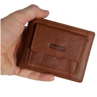 Branco - Kleine Geldklammer Geldbörse / Dollarclip Portemonnaie Größe S für Herren aus Leder, Cognac-Braun, Modell 16749