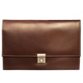 Jahn-Tasche - A4 Aktenmappe / Dokumentenmappe, aus Leder, Braun, Modell 1022