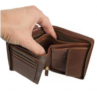 Branco - Große Geldbörse / Portemonnaie Größe L für Herren aus Leder, Hochformat, Braun, Modell 35009 - Vorschau 3