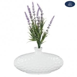 Keramik Vase oval weiß Blumenvase Dekovase Tischdeko Keramikvase Dekoration - Vorschau 2