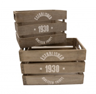 Deko-Holzkisten 2-tlg Aufbewahrungsbox Vintage Kistenset Used-Look