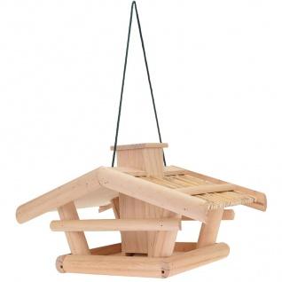 Holz Vogelhaus natur 43x30x25cm Vogelfutterspender Futterstation Futterspender - Vorschau 2