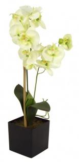 Künstliche Orchidee mit 2 Rispen Gelb Kunstblume Phalaenopsis Kunstpflanze 60cm