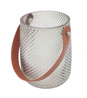 Windlicht aus Glas mit Henkel Kerzenglas Teelichthalter Kerzenhalter Tischdeko