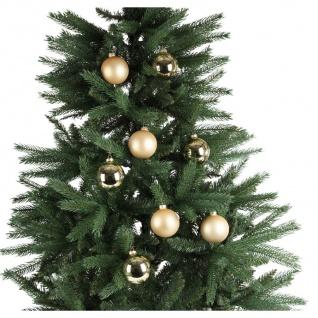 BURI® Weihnachtsbaum 180cm + 24er-Set Weihnachtsbaumkugeln gold Christbaumkugeln