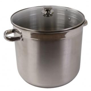 Edelstahl-Kochtopf 20 Liter mit Glasdeckel Suppentopf Gulaschtopf Partytopf Topf