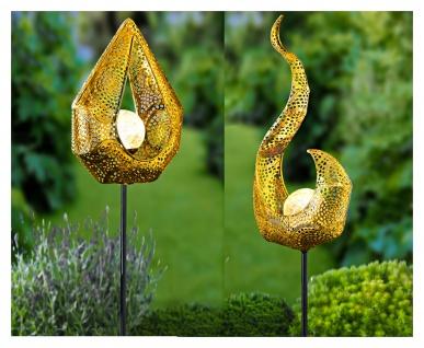 Solar Metall-Gartenstecker 78cm LED Glaskugel Gartendeko Flamme oder Tropfen