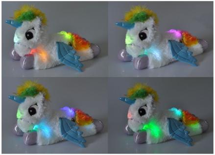 LED Einhorn mit Farbwechsel 30cm Unicorn Kuscheltier Plüschtier Stofftier Kinder - Vorschau 5