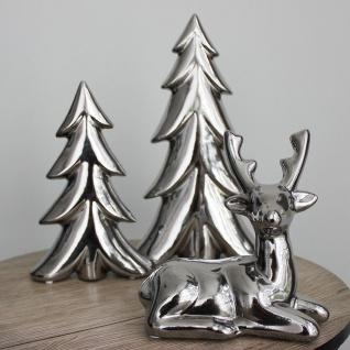 Deko-Tanne aus Keramik 13x20x4cm Silber Tannenbaum Winterdeko Weihnachtsdeko - Vorschau 2