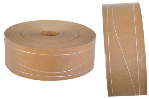 Nassklebeband mit 2 Längs und 1 Sinusfaden ohne Kern Papier braun 6 cm x 200 m