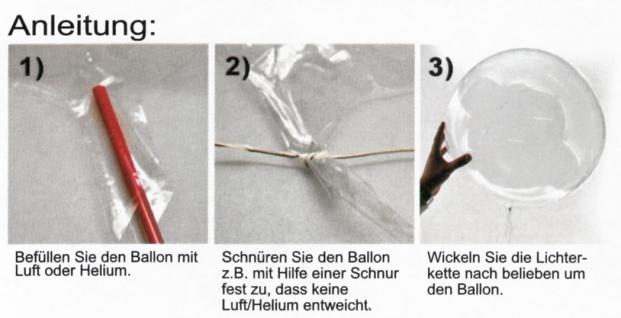 3x LED Heliumballon Luftballon Lichterkette bunt Partydeko Hochzeit Strandparty - Vorschau 2