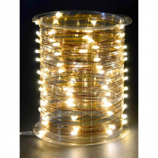 Innen-Lichterkette kupfer 4m mit Timer 40 LEDs warmweiß Drahtlichterkette Deko