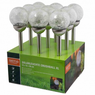 Solarleuchte Crushball XL, Edelstahl/Glas/Kunststoff 1 LED, Ø 12 x 56 cm