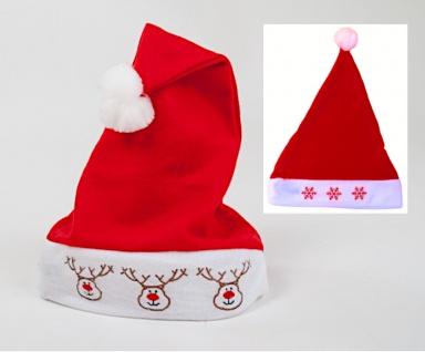 LED Weihnachtsmütze blinkend mit Bommel Nikolausmütze Rentier Schneeflocke Deko