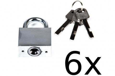 6x TAS Sicherheits-Vorhängeschloss Stahl 40 mm