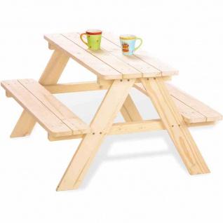 Kindersitzgruppe Nicki, Fichtenholz, unbehandelt für 4 Kinder, 90x85x50 cm
