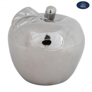 Deko Apfel aus Keramik silber glänzend 12, 5cm Dekoapfel Dekoobst Dekofigur Obst