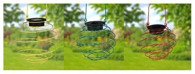 LED Solar-Spirallaterne 12cm Lampion Spirale Solarlampe Hängelaterne Gartendeko
