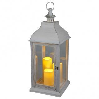 Deko-Laterne weiß mit 3 LED-Kerzen Flackereffekt Weihnachtsdeko Gartendeko Timer